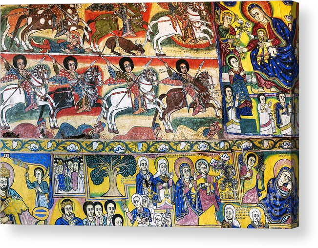 Africa Acrylic Print featuring the photograph Ancient Orthodox Church Interior Painted Walls In Gondar Ethiopi by Jacek Malipan