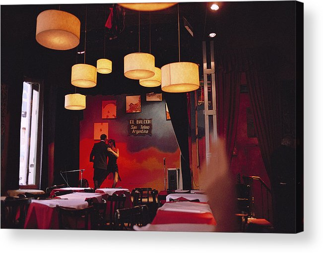 Color Image Acrylic Print featuring the photograph A Couple Dances The Tango At A Club by Pablo Corral Vega
