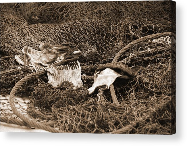 Shrimp Net Acrylic Print featuring the photograph A Days Work Is Done by Renee Holder