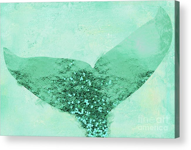 A Mermaid's Tail IIi, Painterly Coastal Art, Aqua Scales Acrylic Print