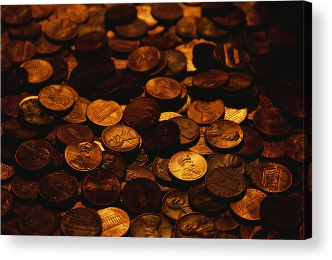 Money Acrylic Print featuring the photograph A Mound Of Pennies by Joel Sartore
