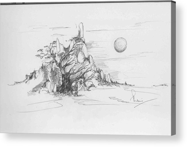 Nature Acrylic Print featuring the drawing A Tree Rocks And The Sun by Padamvir Singh