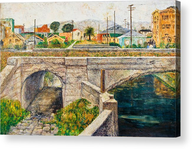 City Acrylic Print featuring the painting A Walk Along The Canal By Victor Herman by Joni Herman
