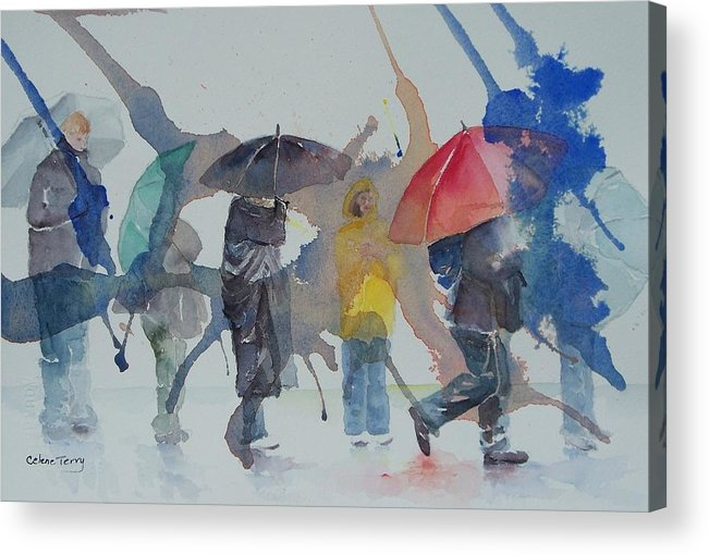 Rain Acrylic Print featuring the painting A Wet Wait by Celene Terry