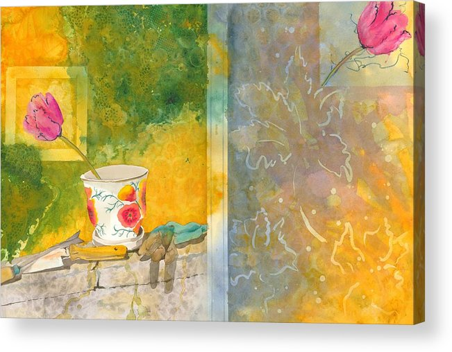 Garden Acrylic Print featuring the painting Along The Garden Wall by Jean Blackmer