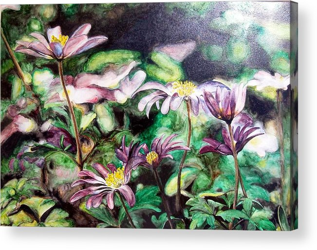 Floral Painting Acrylic Print featuring the painting Anemones Japonaises by Muriel Dolemieux
