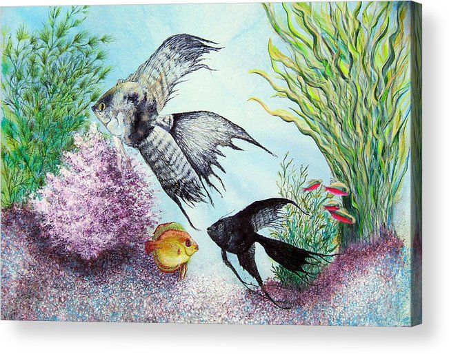 Fish Water Acrylic Print featuring the print Angel Fish by JoLyn Holladay