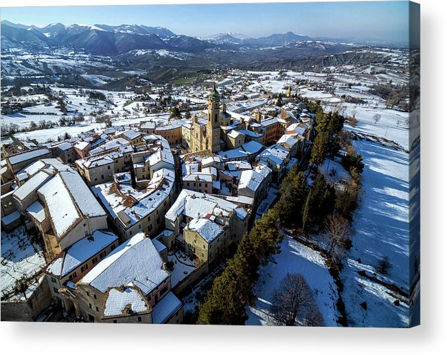 Landscape Acrylic Print featuring the photograph Apiro Italy In The Snow - Aerial Image. by David Daniel