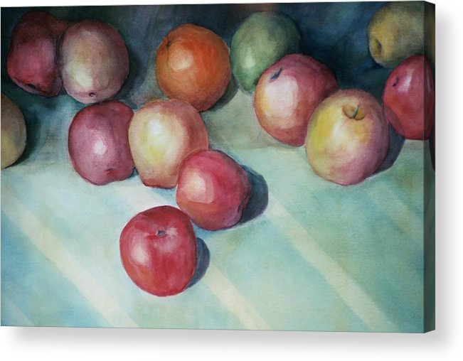 Orange Acrylic Print featuring the painting Apples And Orange by Jun Jamosmos