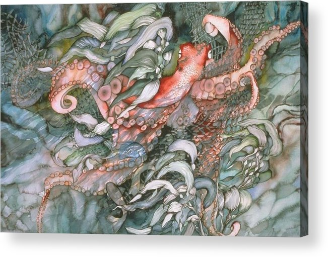 Octopus Acrylic Print featuring the painting At Play by Liduine Bekman
