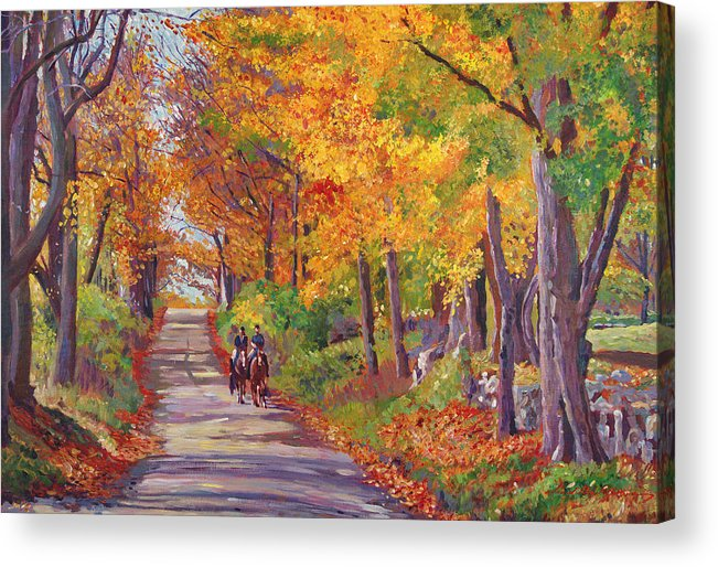 Landscape Acrylic Print featuring the painting Autumn Ride by David Lloyd Glover