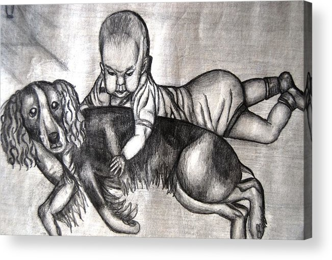 Baby Acrylic Print featuring the mixed media Baby And Dog by Angela Murray