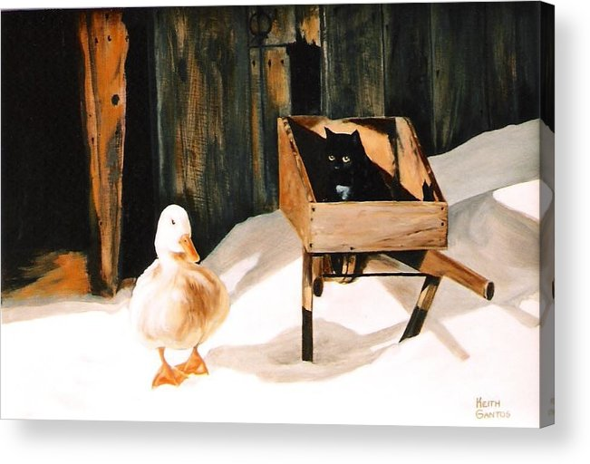 Ducks Acrylic Print featuring the painting Barn Fellows by Keith Gantos