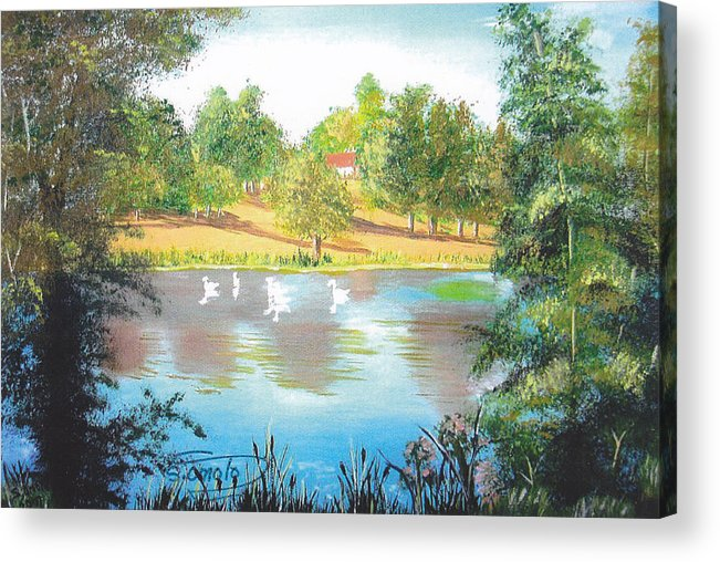 Landscape Acrylic Print featuring the painting Behind The House by Sachiko Omoto