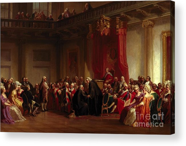 Interior Acrylic Print featuring the painting Benjamin Franklin Appearing Before The Privy Council by Christian Schussele