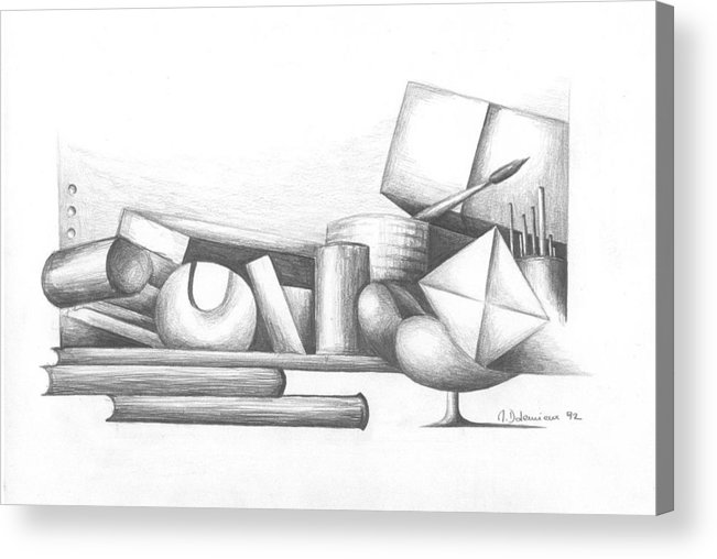 Still Life Acrylic Print featuring the drawing Bibliotheque by Muriel Dolemieux