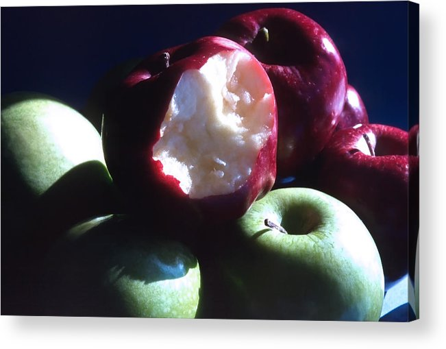 Apples; Red Apples; Green Apples; Juicy; Healthful; Healthy; Crisp; Ripe; Fruit; Eat Acrylic Print featuring the photograph Bitten Apple Still Life by Steve Ohlsen