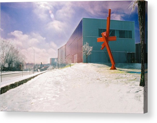 Landscape Acrylic Print featuring the photograph Bloch Building At The Nelson Atkins Museum by Steve Karol