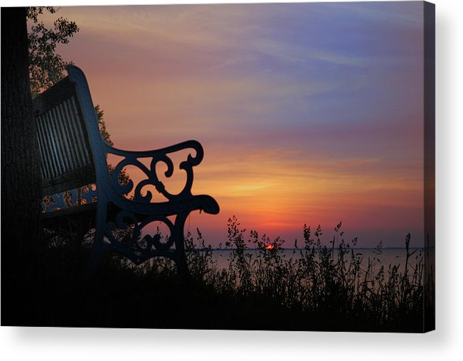 Bench Acrylic Print featuring the photograph Blue Bench by Tom Kilbane
