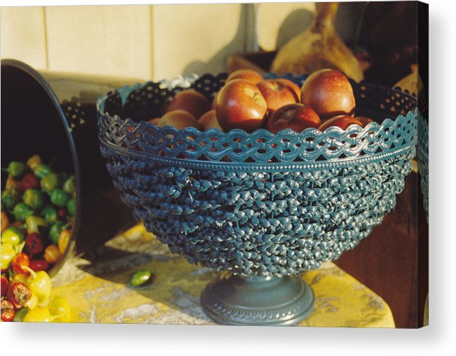 Still Life Acrylic Print featuring the photograph Blue Bowl by Jan Amiss Photography