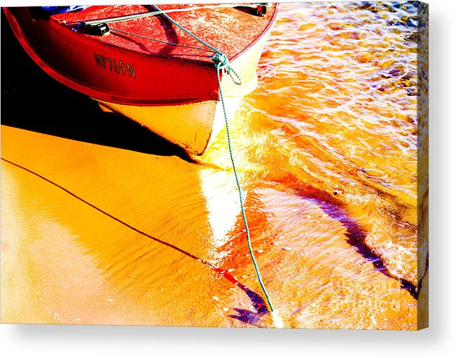 Boat Abstract Yellow Water Orange Acrylic Print featuring the photograph Boat Abstract by Sheila Smart Fine Art Photography