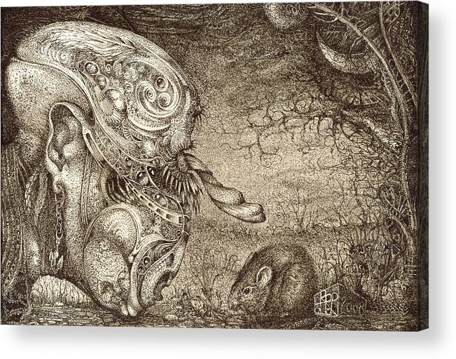 Surreal Acrylic Print featuring the drawing Bogomils Mousetrap by Otto Rapp