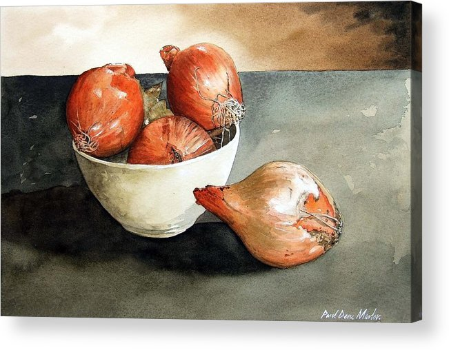 Still Life Acrylic Print featuring the painting Bowl Of Onions by Paul Dene Marlor