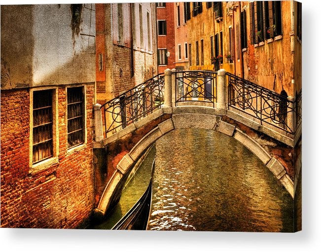 Venice Acrylic Print featuring the photograph Bridge Ahead by Mick Burkey