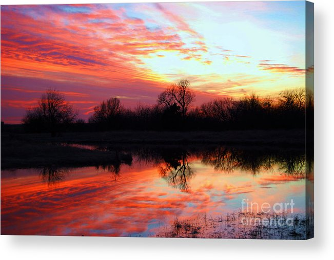 Clouds Acrylic Print featuring the photograph Calming Sunset by Larry Keahey