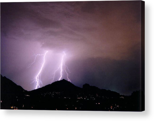 Lightning Acrylic Print featuring the photograph Camelback Scratch by Cathy Franklin
