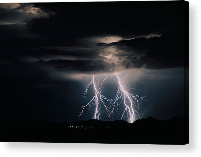 Arizona Acrylic Print featuring the photograph Carefree Lightning by Cathy Franklin