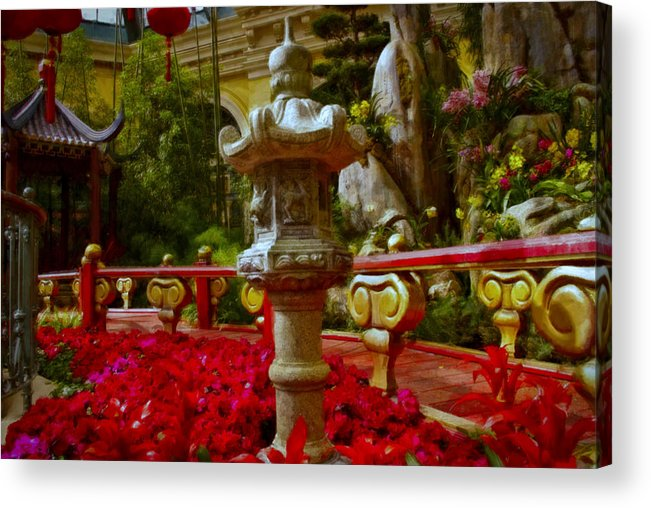 Landscape Acrylic Print featuring the painting China Garden by Stephen Campbell