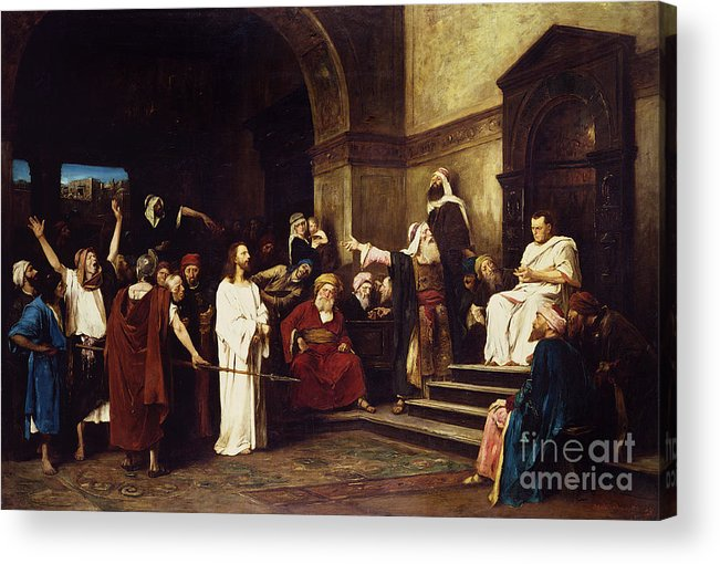 Christ Acrylic Print featuring the painting Christ Before Pilate by Mihaly Munkacsy