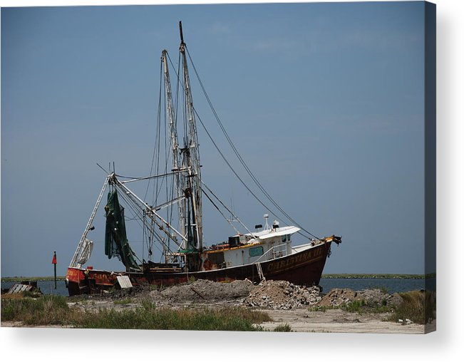 Shrimp Boat Acrylic Print featuring the photograph chrsitina III by Renee Holder