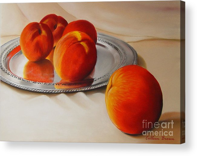Still Life Acrylic Print featuring the painting Cinque Pesche by Colleen Brown