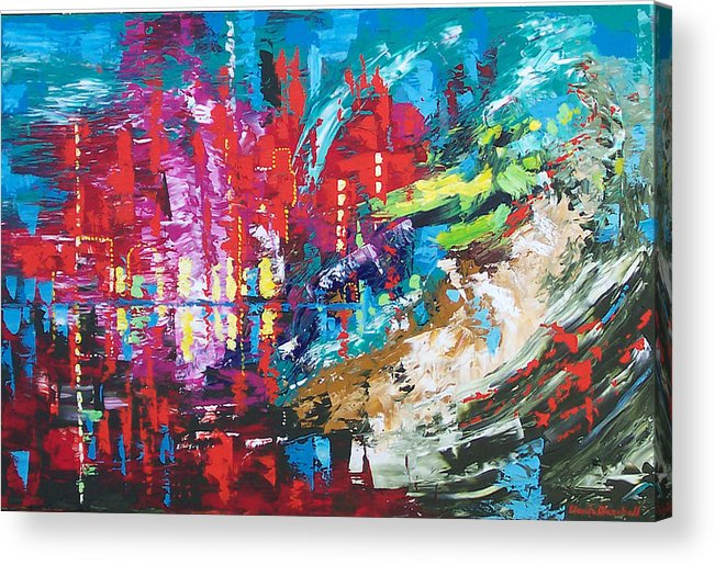 Abstract Acrylic Print featuring the painting City Of Oz by Claude Marshall