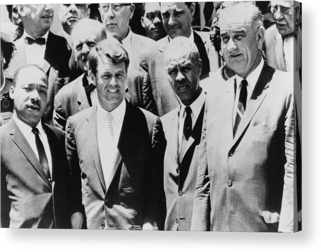 History Acrylic Print featuring the photograph Civil Rights Leaders L To R Martin by Everett
