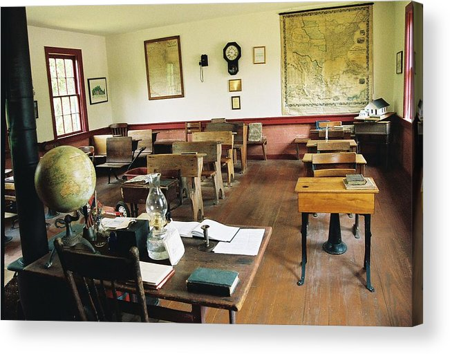 One Room School House Acrylic Print featuring the photograph Classroom Inside Of Charlestown Rhode Island by Cheryl Martin