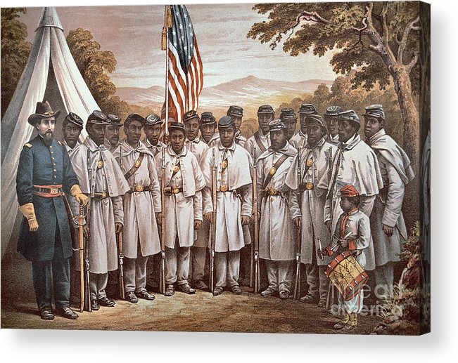 Recruitment; American Civil War; Volunteer; Soldiers; Soldier; Army; Uniform; Flag; Stars And Stripes; General; Drummer; Negro; African-american; Us; Usa; Recruiting; Advertisement; Advert; Propaganda; African American Acrylic Print featuring the painting 'come And Join Us Brothers' by American School