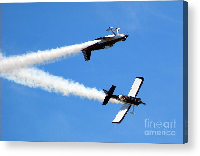 Airplanes Acrylic Print featuring the photograph Crossing Paths by Larry Keahey