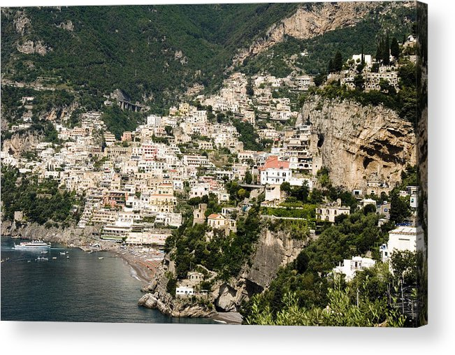 Amalfi Acrylic Print featuring the photograph Crowded Slopes Of Amalfi by Charles Ridgway