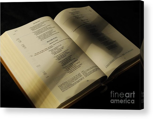 Horizontal Acrylic Print featuring the photograph Crucifix Shadow On French Holy Bible by Sami Sarkis