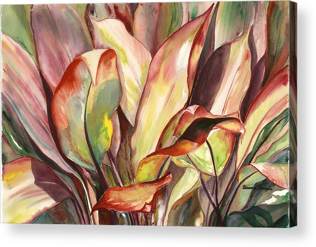 Tropical Foliage Acrylic Print featuring the painting Dancing Ti Leaves by Ileana Carreno