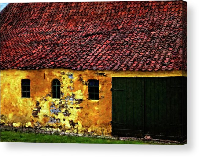 Barn Acrylic Print featuring the photograph Danish Barn Watercolor Version by Steve Harrington