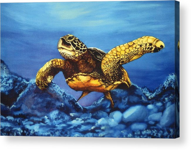 Turtle Acrylic Print featuring the painting Deep Blue by Kathleen Kelly Thompson