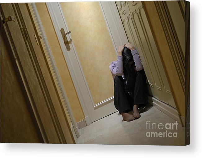 Casual Clothing Acrylic Print featuring the photograph Depressed Woman Sitting In Corridor With Head In Hands by Sami Sarkis