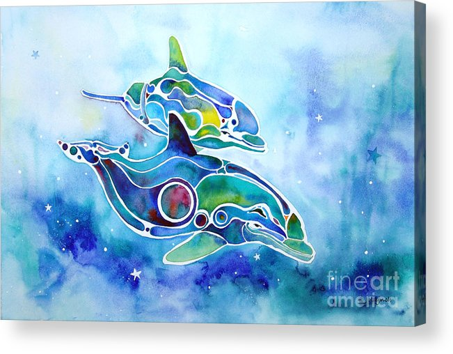 Dolphins Acrylic Print featuring the painting Dolphins Dance by Jo Lynch