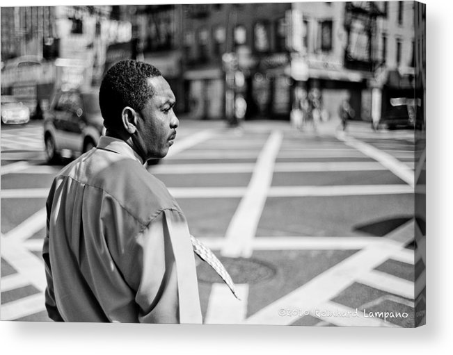 People Acrylic Print featuring the glass art Don't Walk. by Reinhard Lampano