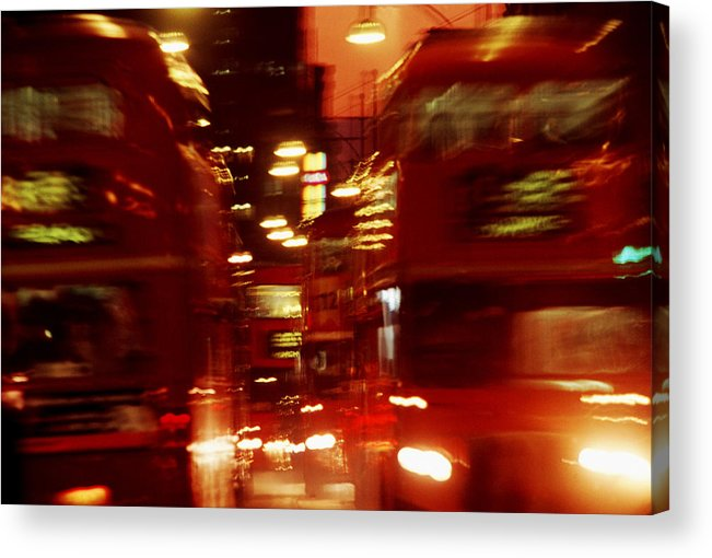 Bus Acrylic Print featuring the photograph Doubledecker Bus Blur London by Brad Rickerby