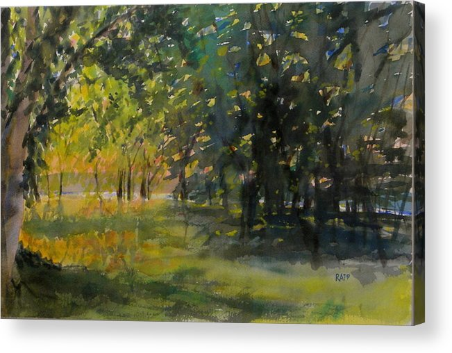 Lake Acrylic Print featuring the painting Down By The Lake by Jan Rapp